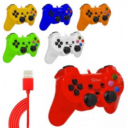 Controle Feir Com Fio Dualshock Para Pc Usb 2.0 - Várias Cores